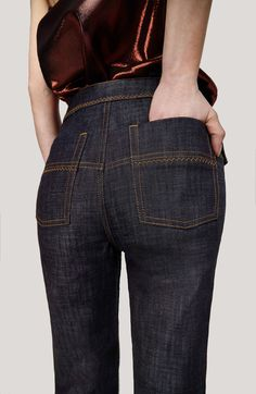 Ellery denim: This Cool-Girl Australian Brand Is Now Making Denim via Denim Fashion, Fashion Outfits, Womens Fashion, Denim Art, Denim Ideas, Fashion Details, Fashion Design, Bell Bottom Pants, Trouser Pants
