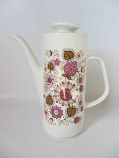 Retro J & G Meakin coffee pot collectible vintage kitchenalia pink filigree pat