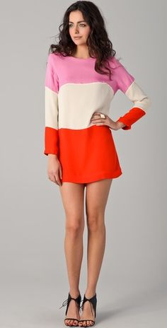 "Heidi Merrick  Huntington Dress  -- ""This colorblock silk dress features a scoop neck and an exposed back zip. Long sleeves."""