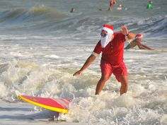 Walk with us to see Surfing Santas in Cocoa Beach Moving To Florida, Florida Travel, Cocoa Beach Florida, Florida Beaches, Florida Sunshine, Sunshine State, Florida Style, Local Events
