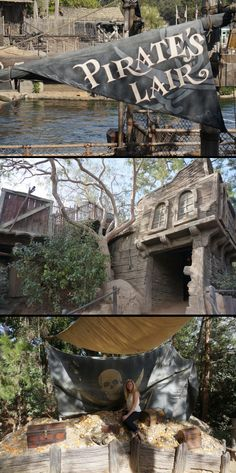 The Pirate's Lair on Tom Saywer Island at Disneyland Pirate Art, Pirate Life, Pirate Theme, Decoration Pirate, Skeleton Decorations, Pirate Halloween Party, Pirate Images, Sea Of Thieves, Outside Decorations