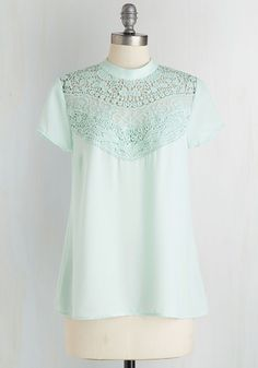 Poet's Playground Top. A lyricist like you is sure to have a ball with this sheer mint blouse. #mint #modcloth