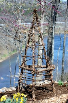 Upcycled Garden Trellis - From cedar branches and grape vines.