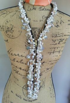 Edgy Designer Inspired Pearl and Shell Zipper Super Statement Necklace Very Unique! by BlingBeadedBaubles, $165.00 USD