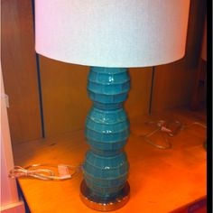 Pier 1 Sea Foam Ceramic Lamp. Such an awesome lamp. If only I had a home by the sea. Slip trailed in a brick pattern and glazed in an interesting glaze. #form, #decorativetechnique
