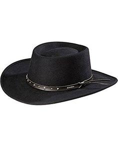 8d22073bf9e93 6. Stetson Men s Hawk Crushable Wool Gambler Hat – Swbkhk-7830 Black Stetson  Hats