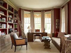 dining room/office idea- note shelves and curtains,window scale, colors Beautiful Blinds, Dining Room Office, Log Cabin Designs, New Paint Colors, Shelter Island, Home Libraries, Big Windows, Elegant Homes, Maine House