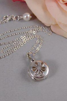 Tiny Daisy,Locket,Sterling Silver,Silver Locket,Daisy,Flower, Locket,Pearl,Sterling Silver Locket. Handmade Jewelry by valleygirldesigns.