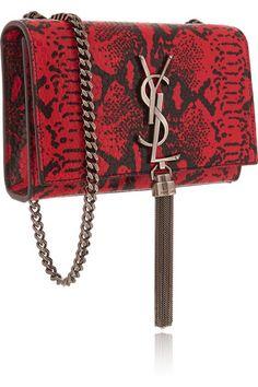 Saint LaurentMonogram Small Python-Effect Leather Shoulder Bag