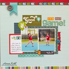 He's Got Game layout using the new Perfect Vacation collection. By Aimee Kidd