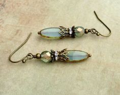 Aqua Earrings, Blue Earrings, Victorian Earrings, Bronze Earrings,Czech Glass Beads, Antique Gold Earrings, Bridal Earrings, Womens Earrings