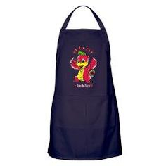 "$19.79 - Dragon Rockstar™ Apron (dark)! Ideal for cooking, baking, grilling or bartending, it's perfect for foodies of all sizes. Simply slip the apron over your head and pull the waist-level drawstring to tighten it around your neck and waist. Two generous pockets hold utensils and more - You are a ROCKSTAR -  31"" long & 29"" wide. 100% heavy cotton twill. Machine washable!"