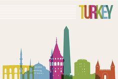 Travel Turkey destination landmarks skyline background vector art illustration