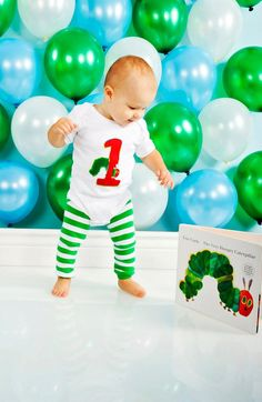Very Hungry Caterpillar Personalized Birthday Onesie AND Leg Covers - Children's Clothing, Baby Boy or Girl, 1st Birthday Cake Smash on Etsy, $28.50