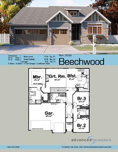 Garage House Plans, Craftsman House Plans, New House Plans, Dream House Plans, Modern House Plans, Small House Plans, House Floor Plans, Craftsman Interior, Rancher House Plans
