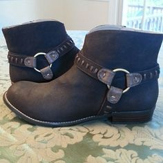 Cute Brown Booties! Super Cute Brown Ankle Boots with side zip closure!  Suede and leather upper. No wear on them. (Worn once so I couldn't take them back) Adrienne Vittadini Shoes Ankle Boots & Booties