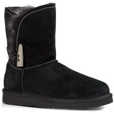 Ugg Australia Meadow Sheepskin Ankle Boots ($170) ❤ liked on Polyvore featuring shoes, boots, ankle booties, black, black bootie, short black boots, sheeps boots, ankle boots and black ankle bootie