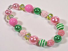Pink Etched Rose Girls Chunky Necklace, Pink, Green,