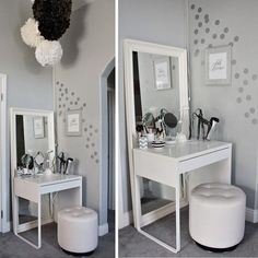 Home Decor Ikea small bedroom furniture and dressing area design ideas.Home Decor Ikea small bedroom furniture and dressing area design ideas Bedroom Makeup Vanity, Vanity Room, Makeup Vanities, Corner Vanity, Makeup Table Vanity, Ikea Vanity, Vanity Mirrors, Makeup Tables, Closet Vanity