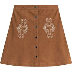 The Kooples Suede Skirt (4,230 MXN) ❤ liked on Polyvore featuring skirts, camel, suede skirt, bohemian skirts, camel suede skirt, button up front skirt and brown a line skirt