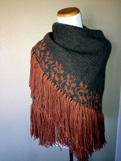 Fall Camp Fire Wrap by Ravelry user Knitting4Nathan.  Pattern: Flora by Margaux Hufnagel.