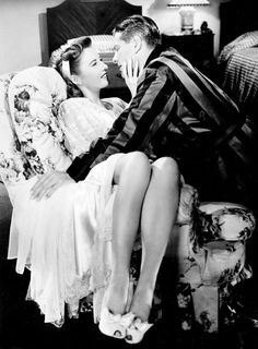 Barbara Stanwyck and Robert Cummings in The Bride Wore Boots, 1946