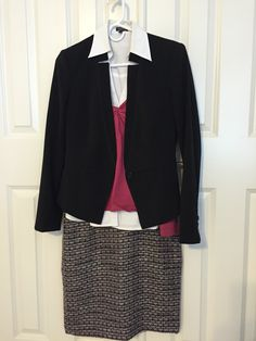 Texture skirt black tights white collared shirt, raspberry (pink) sweater and black whbm jacket