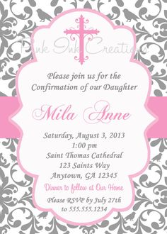 Girl Baptism Invitation Christening Pink Ribbon | Baptism ...