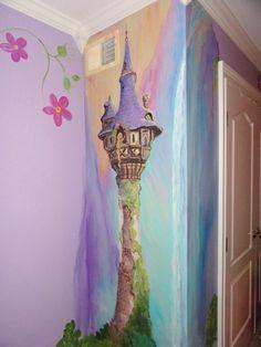 Esimate for Rapunzel room, Rapunzels tower, Princess room, custom kids wall art, Castle mural. Kids Room Murals, Kids Room Paint, Art Wall Kids, Disney Rooms, Disney Fan Art, Disney Punk, Disney House, Art Floral, Disney Wall Murals