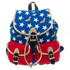 WONDER WOMAN Stars Backpack #wonderwoman #stars #wonderwomanlogo #backpack #knapsack #dccomics #comics #superhero #backtoschool #rockabilia