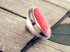 Red coral ring Indian ring Indial jewelry gemstone by CarmelaRosa