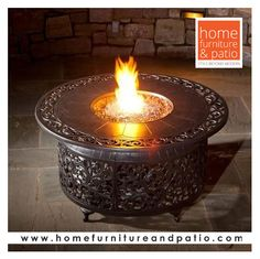 This cast aluminum gas fire pit patio table is great for adding to any patio chat set. The Alfresco Home Bellagio 48 inch fire pit chat table includes blue luster fire glass beads and features a base that allows you to hide the propane tank. Outdoor Propane Fire Pit, Gas Fire Pit Table, Fire Pit Backyard, Patio Table, A Table, Corner Table, Patio Gas, Outdoor Lighting, Outdoor Decor