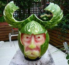 STRANGE FOOD FUN - AMAZING WATERMELON CREATION - FUNNY FACE WITH HORNS!