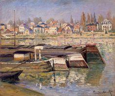 """""""La Seine à Asnières"""".  (1873).   (by Claude Monet).  Museu Hermitage."""