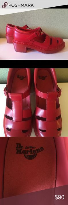DOC MARTENS solid red sandals-worn one X!! DOC MARTENS bright red sandals with a cushioned soles. THES HAVE ONLY WORN ONE TIME!  USA size 10. UK size 8 DOC MARTENS Shoes Sandals