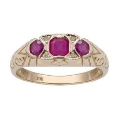 ad0f8f60d78670 Shop Viducci 10k Yellow Gold Vintage Style 3-Stone Genuine Ruby and Diamond  Ring - On Sale - Free Shipping Today - Overstock - 21931865