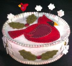 Cardinal Winter Pincushion Wool Felt Kit