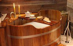 Wooden bath tub at Auberge de la Maison, Courmayeur