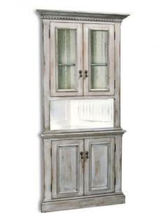 Country Classics Furniture, Regency Corner Cabinet, Antique Brass Teardrop Pulls, Dover Gray with Antique White Interior and Dover Gray Shelf