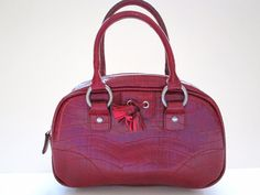 Tommy Hilfiger Small Red Croc Pattern Purse Handbag Double Handle