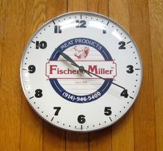 Vintage Advertising Clock Fischer Miller Meat Products Since 1890 White Plains