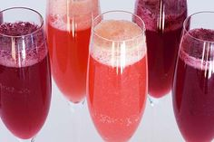 """""""For a Berry Bellini, add a puree of your favorite berries, raspberry liqueur or schnapps to your favorite prosecco or sparkling wine."""""""
