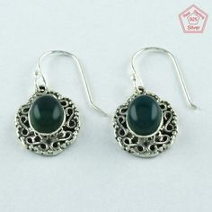 PERFECT LOOK 925 STERLING SILVER & GREEN ONYX STONE EARRINGS E3063 #SilvexImagesIndiaPvtLtd #DropDangle
