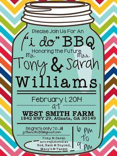 I Do BBQ Mason Jar Wedding Shower Invitation on Etsy, $12.00