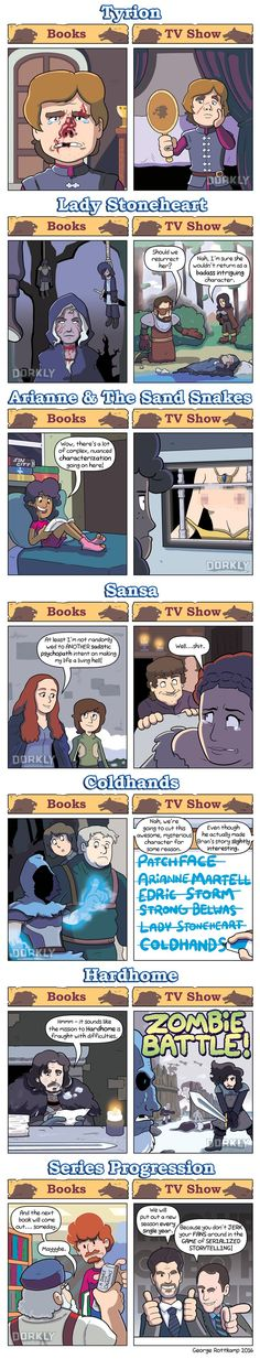 Game of Thrones in the books vs the show