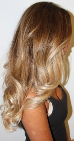 Love this dark honey to champagne blonde ombre by bowsandribbons