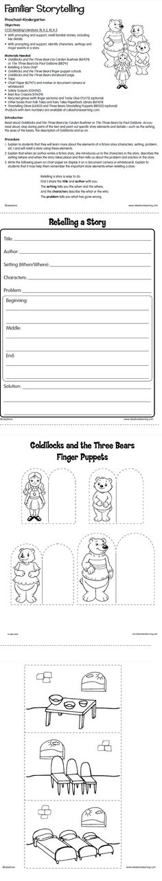 Familiar Storytelling Lesson Plan from Lakeshore Learning: Children identify characters, settings and major events in a story! Covers Common Core State Standards in reading/literature for kindergarten.