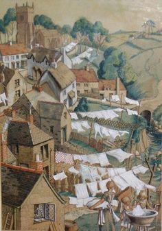 "1934 ~ ""Washing Day"" by Dorothy Cordelia Phyllis Ward (1909-1994), English Artist ...."