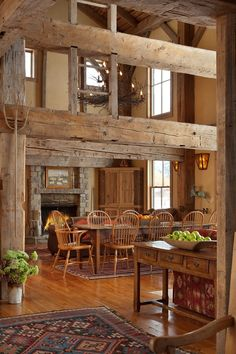 Mountain vacation home in Jackson, Wyoming, made from reclaimed Amish barn...