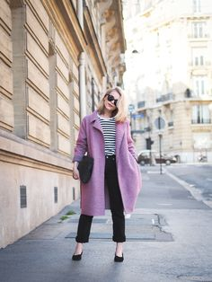 Loving the R/H coat and Marimekko striped shirt on blogger Milla K/ Lack of colour
